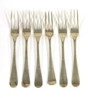 Lot 44-Six matching Dutch silver Old English pattern dessert forks