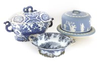 Lot 60-A Wedgwood blue Jasperware stilton dish and cover