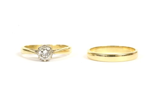 Lot 3-An 18ct gold single stone ring
