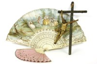 Lot 69 - A 19th century French pierced and carved bone fan