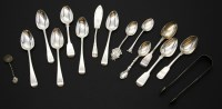 Lot 70 - A collection of Georgian and Victorian silver flatware and a small collection of Continental silver ...