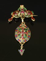 Lot 49-A late Victorian Holbeinesque foiled ruby and diamond enamelled brooch/pendant