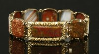 Lot 6-A Regency gold agate bracelet