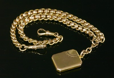 Lot 585-A 9ct gold late Victorian, curb and faceted belcher, double albert chain
