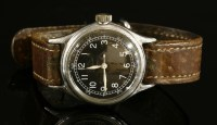 Lot 592-A gentlemen's nickel plated WWII Bulova mechanical strap watch