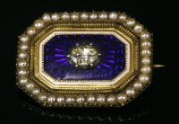 Lot 11-A Georgian diamond, enamel and seed pearl brooch