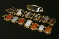 Lot 1-A gilt metal agate panel bracelet