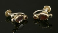 Lot 21-A pair of Georgian flat cut garnet links