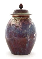 120 - A Ruskin high-fired flambé vase and cover