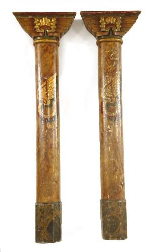 Lot 20-A PAIR OF EGYPTIAN-STYLE ART DECO FAIRGROUND PILLARS