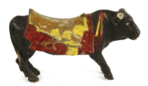 Lot 14-A WOODEN CAROUSEL FIGHTING BULL early 20th century
