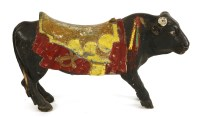 Lot 14 - A WOODEN CAROUSEL FIGHTING BULL early 20th century