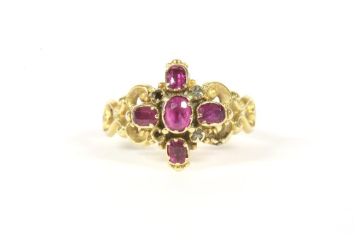 Lot 1-A Victorian gold ruby and diamond cluster ring