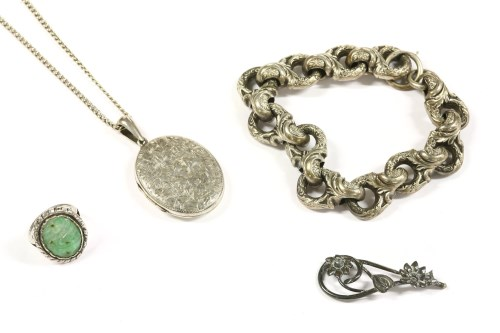 Lot 11-A silver single row hollow fancy link bracelet