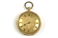 Lot 44-A Swiss gold ladies open faced fob watch