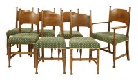 Lot 9-A set of six William Birch oak dining chairs