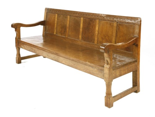 144 - A Robert 'Mouseman' Thompson oak settle