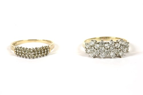 Lot 56-A 9ct gold three row diamond cluster ring