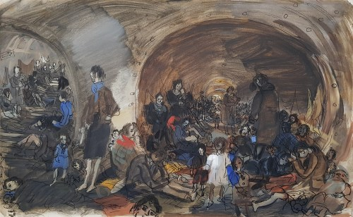 Lot 11-*Anthony Gross RA (1905-1984) SOUTHWARK TUNNEL OCT 1945 Signed