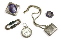 Lot 35-A collection of silver jewellery to include a silver Ruskin style brooch