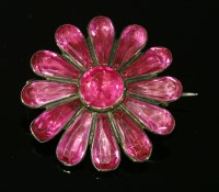Lot 17-A Georgian silver, pink, foiled paste flower head brooch