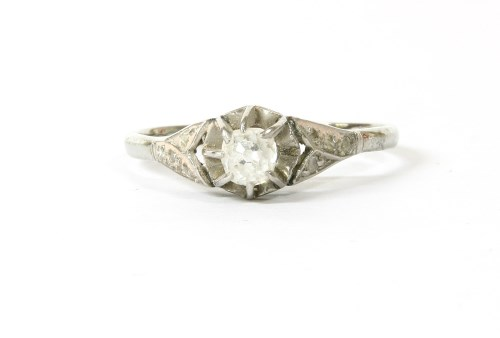 Lot 15-A single stone cushion cut diamond ring