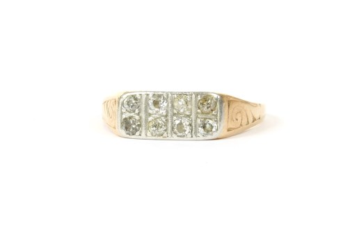 Lot 8-A gold two row diamond ring