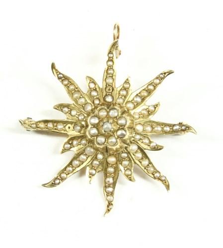 Lot 14-A split pearl starburst brooch