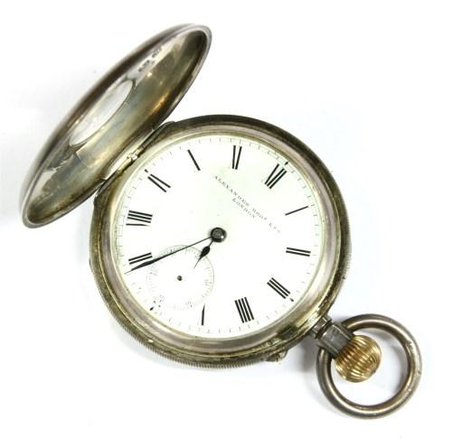 Lot 16-A silver half hunter pocket watch