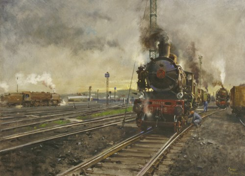 Lot 107 - *Terence Cuneo (1907-1996) 'THE QUEUE FOR THE SHEDS - FRENCH LOCOMOTIVES WAITING AT BOULOGNE DEPOT' Signed and dated 'February '79' l.r.