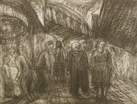 Lot 18-*Leon Kossoff (b.1926) 'OUTSIDE KILBURN UNDERGROUND' Etching
