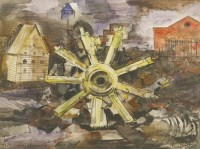 Lot 4-*Michael Rothenstein RA (1908-1993) 'THE YELLOW WHEEL' Signed and dated 1942 u.r.