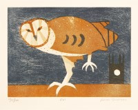 Lot 15-*Julian Trevelyan RA (1910-1988) OWL (TURNER 218) Etching with aquatint printed in colours