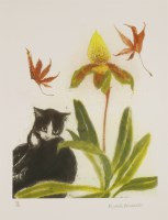 Lot 12-*Dame Elizabeth Blackadder RA RSA (b.1931) CAT AND ORCHID Lithograph printed in colours