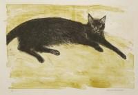 Lot 11-*Dame Elizabeth Blackadder RA RSA (b.1931) BLACK CAT Lithograph printed in colours