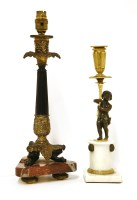 Lot 41-A Regency bronze candlestick/table lamp and shade