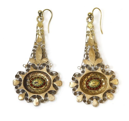 Lot 34-A pair of high carat gold Anglo-Indian filigree drop earrings
