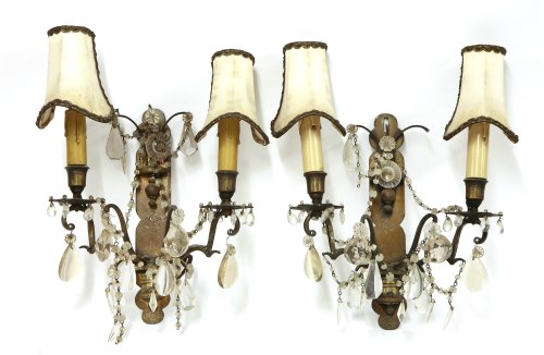 Lot 19-A pair of brass twin-branch wall lights