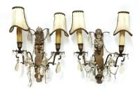Lot 19-A pair of brass twin-branch wall lights