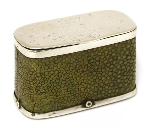 Lot 25-A silver and shagreen match case