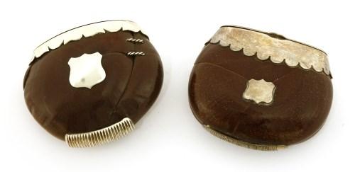 Lot 24-Australian interest:  five silver-mounted burra nut vesta cases