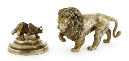 Lot 18-A Continental cast silver lion