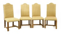 Lot 508-A set of twelve contemporary oak and upholstered high backed dining chairs