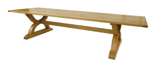Lot 509-A large contemporary oak refectory table