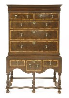 Lot 501-A William and Mary oak and olive wood veneered chest on stand