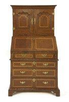 Lot 560-A burr yew wood three-piece bureau cabinet