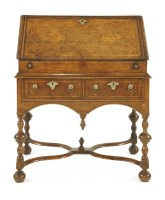 Lot 564-A Queen Anne strung and inlaid oak bureau on stand