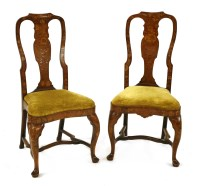 Lot 520-A pair of Dutch marquetry and walnut single chairs