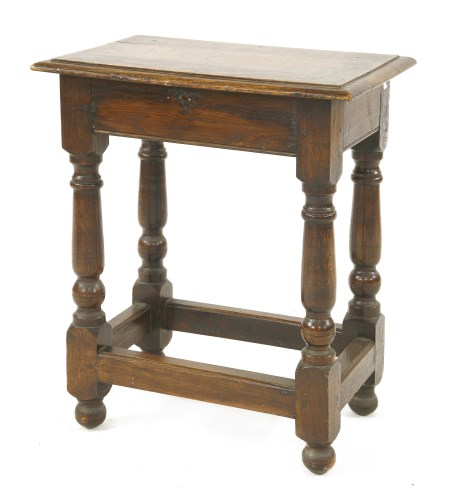 Lot 525-A 17th century-style oak joined stool