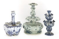 Lot 553-A Cantagalli faience blue and white candlestick
